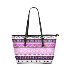 Lavender Trible Leather Tote Bag/Large (Model 1651)