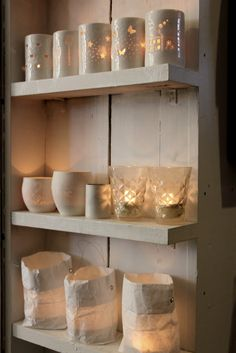 Shelves of lights love the idea -  Consider putting plug ins / strips behind shelves to easily plug lighted decor in (e.g. tortoise).