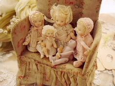 Aren't these precious? I love dolls, always have, always will. I would have a collection if I could. I come from 3 sisters and I am the only one that loved my dolls, then I had a daughter and I tried to get her to love dolls, to no avail. I have nobody to play with. Ha! :-) -kjk