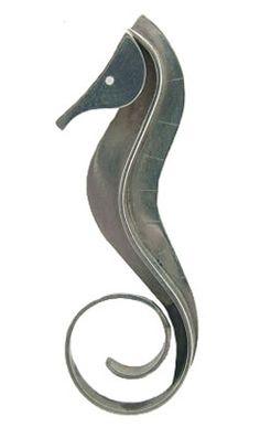 Wonderful 1950s Modernist seahorse brooch by Paul Lobel.