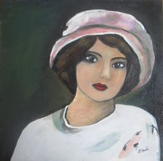 "Girl in Pink Hat - Original portrait painting - acrylic painting 12""x12"" - 30x30 cm"