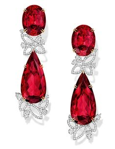 Harry Winston rubellite Lily cluster earrings with diamonds