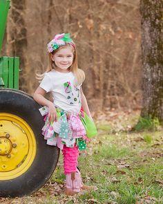 John Deere Scrappy Tutu- Rag Skirt - Girls Scrappy Tutu - Pink Green and White Plaid Skirt. $27.50, via Etsy.
