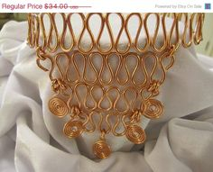 ON SALE Copper Wire V Shape and Swirl Choker by WireJewelryByDawn, $20.40