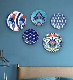 India Online, Flower Canvas, Inspiration Wall, Plate Sets, Plates On Wall, Cobalt, Decorative Plates, Colours, Ceramics