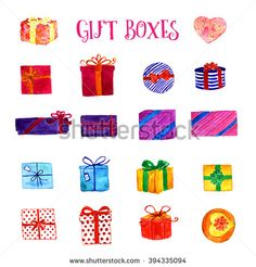 Watercolor set with gift boxes, isolated on white background. Watercolor art illustration. Christmas decoration elements. Upper view and side view.