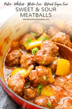 delicious Paleo & Sweet and Sour Meatballs are so much healthier and taster than the takeout version! It's only sweetened with pineapple juice but so flavorful. Whole 30 Meatballs, Sweet And Sour Meatballs, Paleo Recipes, Real Food Recipes, Free Recipes, Yummy Food, Paleo Dinner, Dinner Recipes, Meatball Recipes