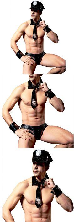 Hot Sexy Men Police Lingerie Set Black Leather Cops Costume Low Waist Fishnet Briefs Underwear 4 Pieces Male Lingerie Set
