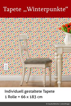 Custom Printed Wallpaper With Winter Dots Design By Colorofmagic. PVC Free  Paper, Durable And Eco Friendly. Choose From Self Adhesive Or Adhesive  Backing.