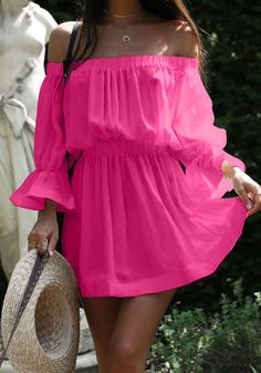 Rose Carmine Pleated Ruffle High Waisted Off Shoulder Flare Sleeve Sweet Homecoming Party Mini Dress Flare Sleeve Ruffle Floral Printed Belt Skater Dress Cheap Dresses, Cute Dresses, Casual Dresses, Short Dresses, Skater Dresses, Mini Dresses, Dresses Dresses, Mini Dress With Sleeves, Half Sleeves