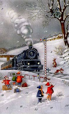 Christmas train advent card made in Germany. Christmas Train, Old Fashioned Christmas, Christmas Scenes, Christmas Past, Christmas Greetings, Winter Christmas, German Christmas, Christmas Decor, Vintage Christmas Images