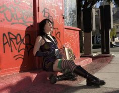 """""""Squeezebox Goddess"""" Renee de la Prade singing French or Celtic or pop-funk on a San Francisco street corner with her diatonic button box."""