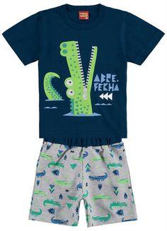 Conjunto Infantil Marinho Kyly Boys Summer Outfits, Summer Boy, Toddler Boy Outfits, Toddler Boys, Kids Boys, Baby Kids, Infant Boys, Justice Clothing, Tee Shirt Designs