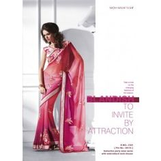 Pink Net saree sequins and patch work.