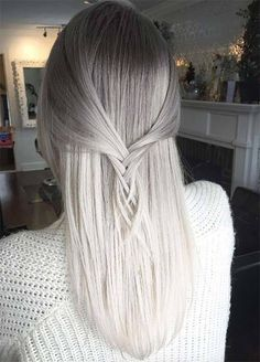 For mom: Granny Silver/ Grey Hair Color Ideas: Ombre White Gray Hair