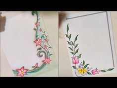 Flower design | front/cover page design | Easy Floral/Project design | assignment/Notebook Design - YouTube File Decoration Ideas, Page Decoration, Boarder Designs, Page Borders Design, Lettering Tutorial, Hand Lettering, Unique Mehndi Designs, Easy Flower Designs, Front Page Design