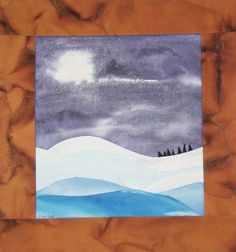 Snow landscape quilt moon shining on winter snow by quiltartfabric