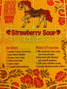 1900 Park Fair's Strawberry Soup recipe!  YAY!  Best stuff we ate there, and there was LOTS of good stuff!