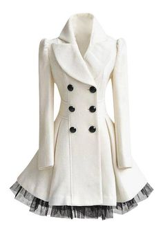 White Ruffled Tulle Coat - Double Breasted Front Coat
