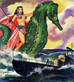 Warrior woman on a giant seahorse aka Fantastic Adventures Volume 13 No. 5, May 1951.Cover by Robert Gibson Jones
