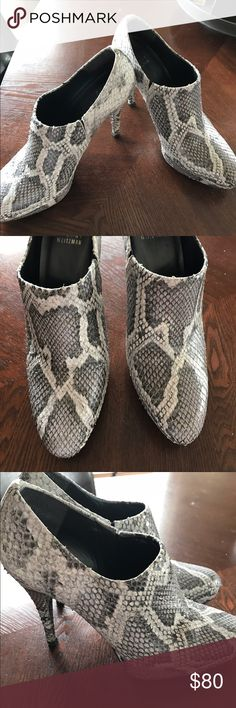 Stuart Weitzman grey and white snakeskin boots Stuart Weitzman grey and white platform snakeskin booties. Size 9.  Actual snakeskin not just a leather pattern. Excellent condition. Stuart Weitzman Shoes Ankle Boots & Booties