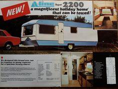 A-Line Super 2200 brochure Camper Caravan, Campers, Vintage Caravans, Leaflets, Mobile Homes, Brochures, Recreational Vehicles, Trailers, Touring