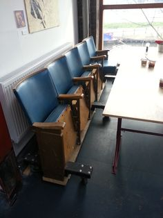 Seating made from reclaimed theatre seats...with added wheels! - Stour Space…