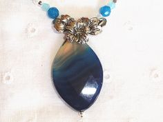 Stunning Agate and Quartz Necklace Set with Hoop Earrings / Gemstone Jewelry Set