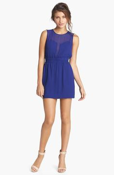 Cute! BCBGMAXAZRIA Blue Illusion Cutout Fit & Flare Dress