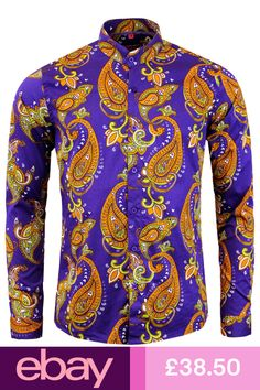 32862da68076a NEW MADCAP RETRO MOD 60s TANPURA PAISLEY GRANDAD COLLAR SHIRT  PURPLE MC318