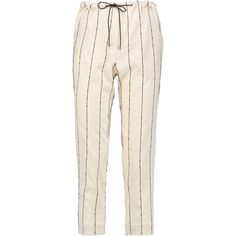 Brunello Cucinelli Embellished stretch-silk tapered pants (£333) ❤ liked on Polyvore featuring pants, cream, tapered trousers, drawstring waist pants, taper cut pants, tapered fit pants and pink trousers