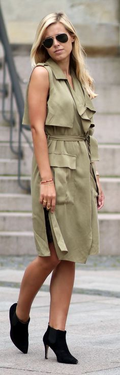Olive Silk Sleeveless Dress