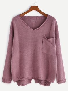 Purple V Neck High Low Hollow Back Pocket Sweater Mobile Site