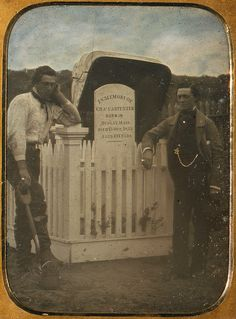 ca. 1853, [daguerreotype portrait of two gravediggers at a headstone]