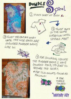Sewing Techniques Advanced Tiedye Double Spiral Tutorial by ~Merlend on deviantART - Tie Dye Folding Techniques, Shibori Techniques, Sewing Techniques, Diy Tie Dye Designs, Ty Dye, Diy Tie Dye Shirts, Tie Dye Party, Tie Dye Crafts, Spiral Tie Dye