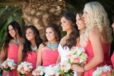 Love those necklaces with the coral! Very Pretty :) Coral & Teal Rustic Wedding