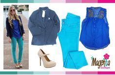 outfit blue #Blazer #MintPant