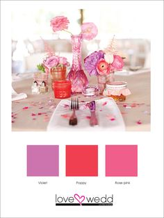 purple, red, pink #color palette #wedding