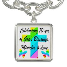 CELEBRATING 70TH BUTTERFLY AND CROSS DESIGN BRACELET Enjoy our uplifting and inspiring selection of 70th birthday jewelry. 15% Off Sitewide Use Code: BESTBIZCARDZ http://www.zazzle.com/jlpbirthday/gifts?cg=196361917885490522&rf=238246180177746410  #70thbirthday #70yearsold #Happy70thbirthday #70thbirthdaygift #70thbirthdayidea #Christian70th  #happy70th
