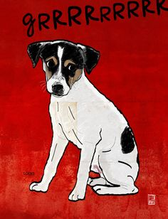 Dog: Rat Terrier - Red Art Print
