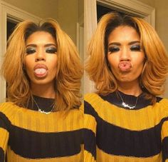 Find images and videos about hair on We Heart It - the app to get lost in what you love. Blonde Hair Black Girls, Honey Blonde Hair, Pretty Hairstyles, Bob Hairstyles, Straight Hairstyles, Hairdos, Curly Hair Styles, Natural Hair Styles, Protective Hairstyles For Natural Hair
