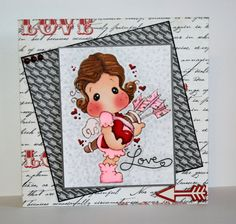 Gorgeous handmade Valentines Day card with Cupid Tilda by rbowen