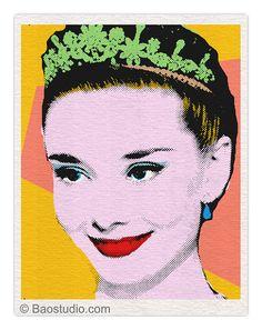 Audrey Hepburn Yellow/Peach    Pop Art Print Poster by PineShore