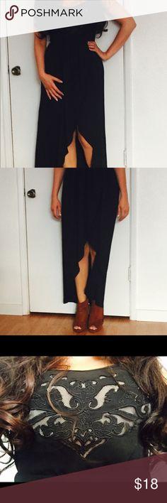 ❌SOLD❌ Black tulip spaghetti strap w/mesh top Black spaghetti strap top with mess detail tulip dress.  Medium 6-8 Forever 21 Dresses High Low