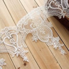 Embroidered Lace Trim Ivory Lace Edging Corded by LaceNTrim