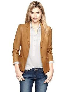 Leather blazer | Gap.........i want a leather blazer!!!! hmmm bday gift maybe?