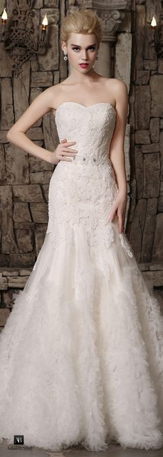 Gorgeous tulle sweetheart neckline mermaid wedding dresses with lace appliques(WWD83975)
