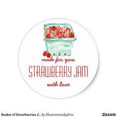 Basket of Strawberries Jam Labels