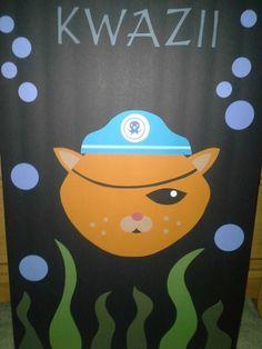 Octonauts birthday party. Pin the eye patch on kwazii