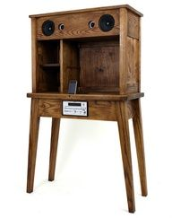 the 'box project' is a series of wooden cabinets and a desk design featuring embedded speaker systems. Stereo Cabinet, Custom Consoles, Home Speakers, Wooden Cabinets, Diy Desk, Home Entertainment, Furniture Inspiration, Simple House, Furniture Decor